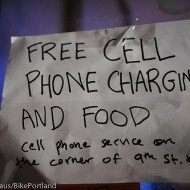 free cell phone charging and food